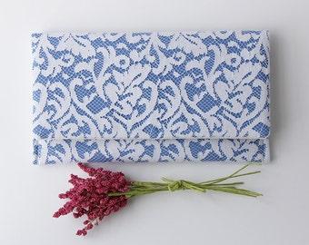 Blue Bridesmaid Clutch, Cornflower Blue Clutch, White and Blue Clutch, Rustic Clutch, Lace Wedding Clutch, Modern Vintage Clutch