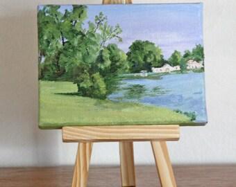 3 X 4 inch mini painting, Conesus Lake, Vitale Park, original oil painting
