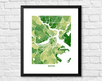 Boston Map Print.  Choose the Colors and Size.  Wicked Awesome Wall Art.  Show your Local Massachusetts Love.