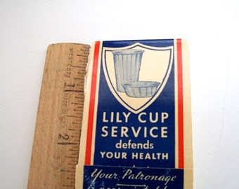 Vintage Lipstick Tissue Packet Small From 1930s Lily Cup Service Ad  Measures 2 And  7/8   X   1 &  7/8   X  1/4 inch Inches