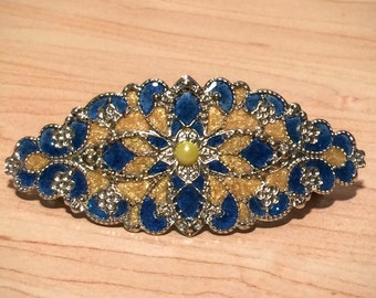 Blue and Maize Barrette/Hair Ornament Hand Painted Enamel