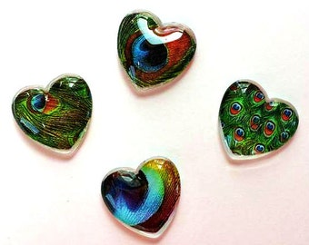 Magnets - Peacock Feathers - Peacock - Set of 4 - 1 Inch Domed Glass Hearts