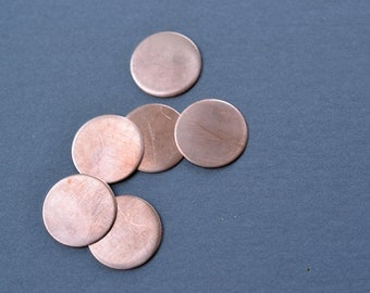 3/4 inch diameter copper discs- raw copper stamping blanks- set of 6