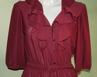 M Vintage 70s Burgundy Dress Disco Diva Ruffled Collar Full Skirt Loop Buttons Secretary Day Dress