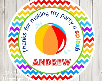 Printable Beach Ball Labels, DIY Gift Tags, Digital hang Tags, Printable Beach Ball Favor Tags, Beach Ball Birthday Party