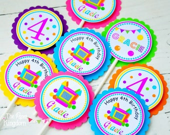 Bounce House Cupcake Toppers, Bounce House Birthday Party - Set of 12