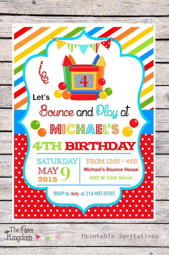 diy bounce house party invitations bouncy by thepaperkingdom. Black Bedroom Furniture Sets. Home Design Ideas