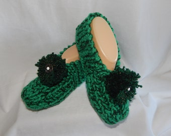 Women's Knitted Green color Slippers Size 6, 7, or 8