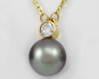 """Tahitian Pearl Drop Necklace with Stone 14ky (Aquamarine)(18"""")"""