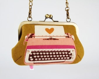 Metal frame handbag with shoulder strap - Retro typewriters on ochre - Party purse / pink peach / Melody Miller / Vintage inspiration / Fall