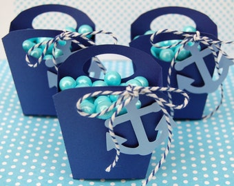 12 Navy anchor nautical favor treat box handle box wedding favor baby shower favor box birthday treat box candy box navy light blue anchor