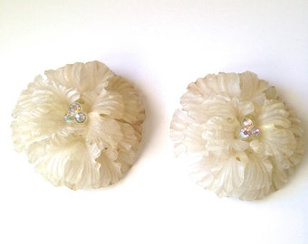 Vintage Triad Celluloid & Rhinestone Floral Earrings