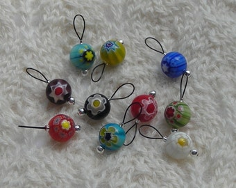 knitting stitch markers - snag free loops - millefiori beads multicolor glass 10mm - two loop sizes