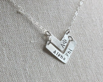 Alpha Phi Necklace - Alpha Phi Chevron Necklace Sterling Silver Chevron Sorority Jewelry Gold Sorority Jewelry Greek Jewelry Big Sis Lil Sis