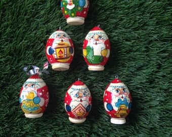 Vintage Handpainted Wooden Father Christmas tree decorations