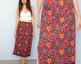 sacred geometry -- vintage psychedelic knit skirt S