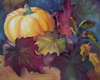 Autumn Still Life I,Pumpkin, Leaves,Canvas, Original Oil Painting by Cheri Wollenberg