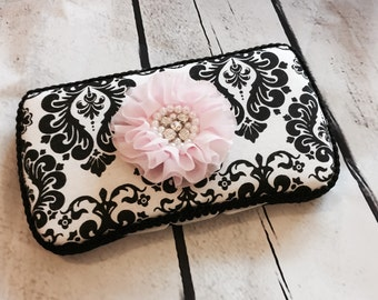 Damask Diaper Wipe Case with your choice chiffon flower