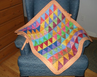 Stroller Car Seat Quilt for Baby Infant Quilt Colorful Triangles