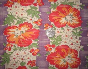 Vintage 1930s/40s Full Cotton Feedsack-Purple Orange Red Green Floral