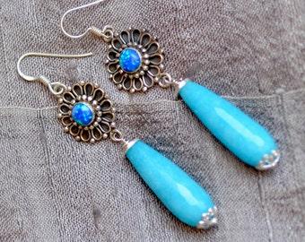 Blue Teardrop Earrings. Quartz - Opal Sterling Silver Earrings. Silversmith. Ocean Blue Flower Earrings. October Birthstone.