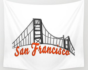 San Francisco Wall Tapestry Hanging, California Tapestry Home Decor, Indoor Outdoor Tapestry, Dorm Room Tapestry for Boy's or Girl's Room