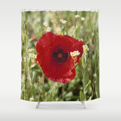 Red Poppy Flower Print Fabric Shower Curtain Floral Home