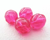 18mm Bright Pink Vintage Lucite Beads with Swirl Design (8)