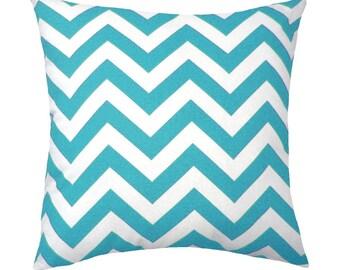 Premier Prints Zig Zag Ocean Outdoor Decorative Pillow - Aqua Sky Blue and white chevron stripe - Free Shipping