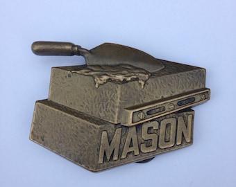 Belt Buckle Vintage 1980s Brass Metal Mason Baron