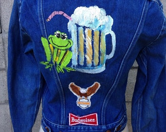 Denim Jean Jacket Vintage 1970s Patches Beer Painted Harley Davidson Budweiser men's size 36