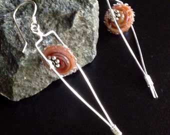 Lamp Work Beads on Sterling Trapeze Earrings