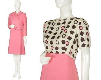 vintage 60s Jackie Kennedy pink wool bouclé A-line dress suit, mod graphic silk bodice, asymmetrical jacket, fabulous buttons, size M-L