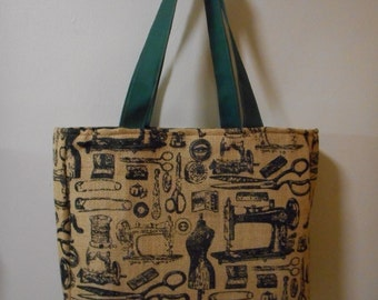 Tote Bag Large Burlap Vintage Sewing Items Print Print Sewing Knitting Crocheting Toys Shopping Grocery Book Computer Overnight