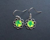 AMBROSIA AFFORDABLES 13 x13 mm Earrings Silver Yellow Green