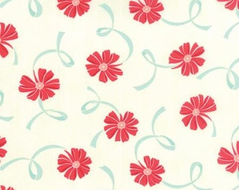 Hello Darling Fabric - White with Red Flowers and Aqua Ribbons from Moda by Bonnie & Camille - 55116-14 - Yardage