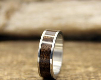 Ready To Ship!  Size 6 - Stainless Steel and Walnut Bentwood Ring