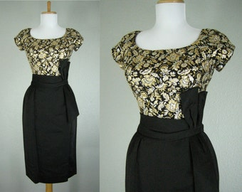 Vintage 1950s Black Dress Gold Silver Floral Metallic Wiggle Cocktail Party Dress