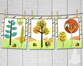 Set of 3 Owl Bathroom Children's 8x10 ART PRINTS