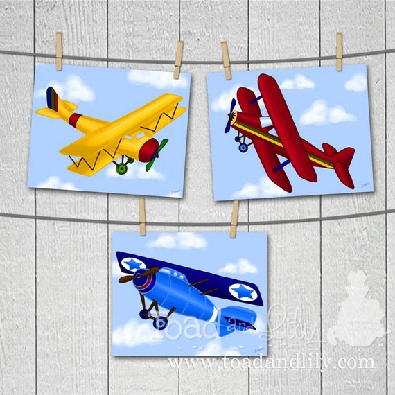Set of 3 Up Up and Away Little Airplanes Boys Bedroom Baby Nursery 8 x 10 Wall ART PRINTS
