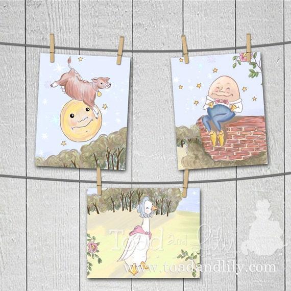 Set of 3 Whimsical Nursery Rhyme Themed Children's Bedroom 8 x 10 ART PRINTS