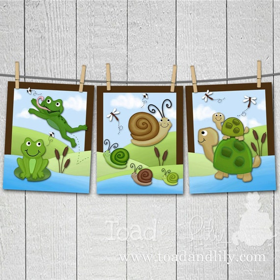 Set of 3 Pond Critters Boys Bedroom Kids Bathroom Baby Nursery 8 x 10 Wall ART PRINTS