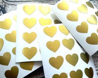 48 Gold heart stickers, Gold heart mini decals, Gold heart envelope seals, for packaging, gift wrapping or wedding invitations