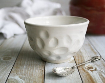 White Yunomi Tea Cup Wheel Thrown Hand Carved Special Ceramic TeacupPottery Made in the USA Ready to Ship