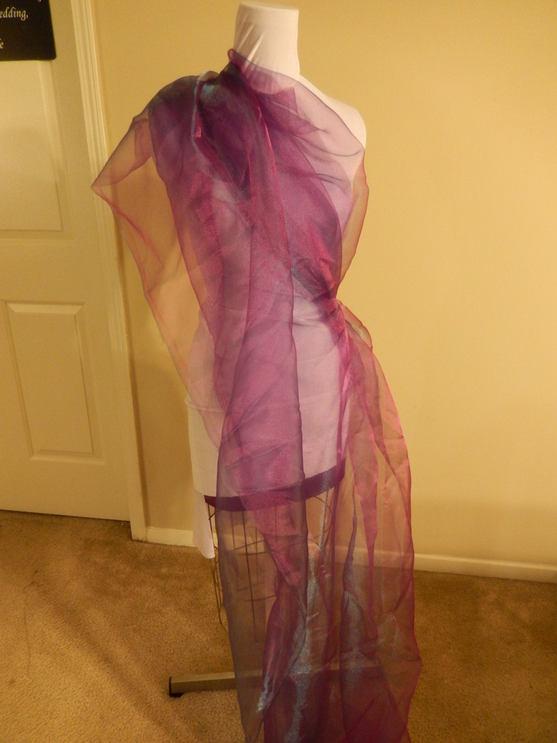 Purple Teal Iridescent Organza Fabric From