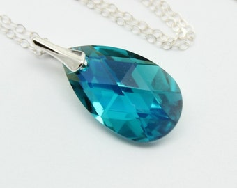 Blue Zircon Torquoise Green Necklace Pendant, Choose Color, Pear 22mm Swarovski Crystal Sterling,Bridal Bridesmaids Wedding Jewelry,Modern