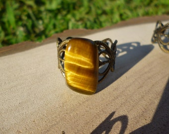 Tigers Eye on Filigree Adjustable Brass/Bronze Antique Gold Ring
