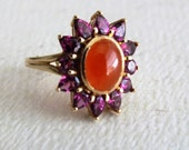 Vintage Amythyst and Carnelian Ladies Ring 14K Yellow Gold by avintageobsession on etsy...FREE USA SHIPPING