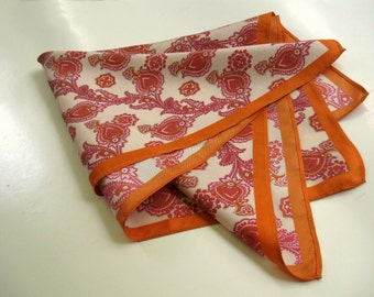 Vintage orange scarf - silk. Floral, paisley, thistle, flowers, vines. 1960's, 1970.