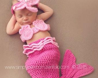 Pink Newborn Mermaid Halloween Costume, 0 to 3 Month Mermaid Photo Prop Costume